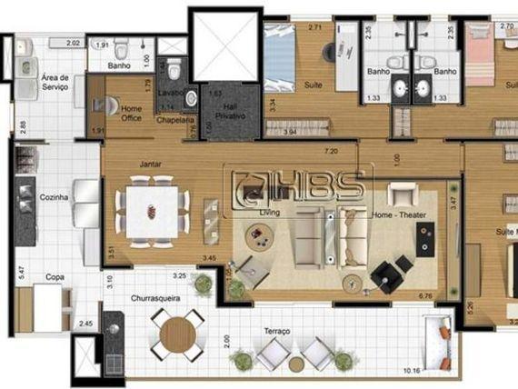 """Apartamento com 163m2 com 3 suítes com 3 vagas, + depósito no <span itemprop=""""addressLocality"""">Panamby</span>"""