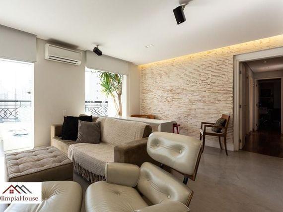 """Lindo apartamento de 128m2 com 3 dormitórios ,em <span itemprop=""""addressLocality"""">Moema</span>."""