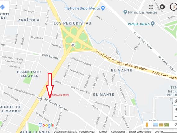"Bodega 3,050m2 <span itemprop=""addressLocality"">Agua Blanca Industrial</span>, Lopez Mateos y Periférico"