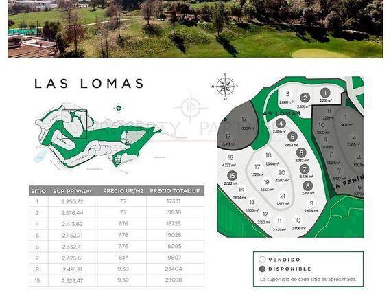 """Valle Escondido, <span itemprop=""""addressLocality"""">Lo Barnechea</span> - Las Lomas, loteo N° 5"""