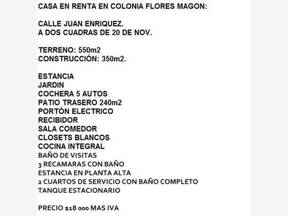 Casa en Renta en Fracc Ricardo Flores Magon