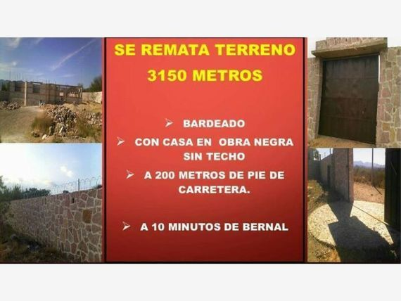 "Terreno en Venta en <span itemprop=""addressLocality"">Bernal</span>"
