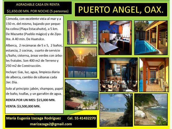 Casa en Renta en Playa Estacahuite, Puerto ángel