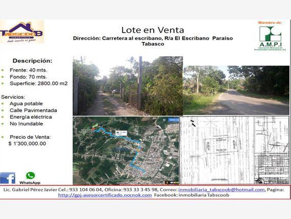 """Terreno en Venta en <span itemprop=""""addressLocality"""">Escribano</span>"""