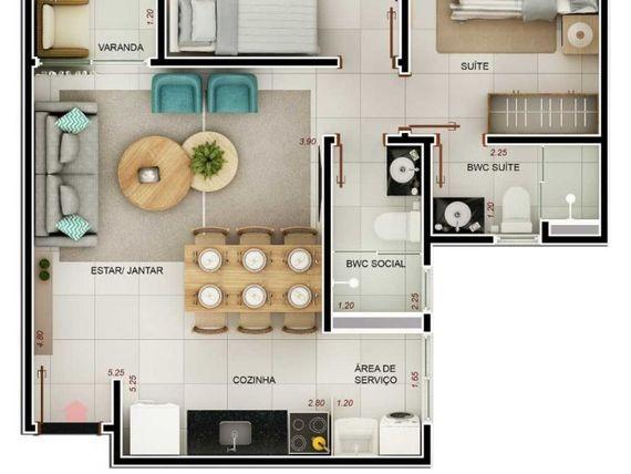 Excelente Apto, com 53m² a 55m², 02 Qtos/01 Ste, varanda,cozinha americana, elevador, área de lazer.