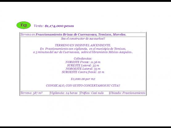 Brisas Fraccionamiento $2,000.00 por m2