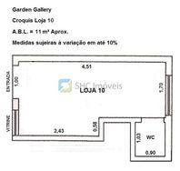 Loja/sala comercial em  galeria, 11m², com wc, Jardins, Jardim América