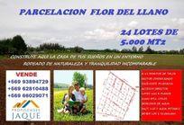 PARCELACION FLOR DEL LLANO SE VENDEN 24 LOTES DE 5.000 MT2